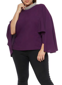 Plus Size Beaded Mock Neck Top - 1803074280623