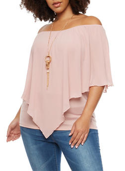 Plus Size Off the Shoulder Top with Necklace - 1803074280628