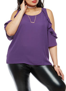 Plus Size Ruffle Cold Shoulder Top with Necklace - 1803074280629