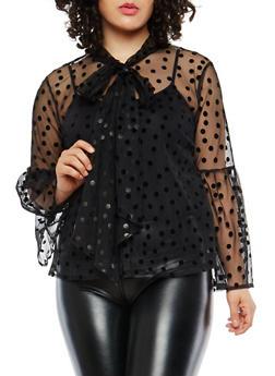 Plus Size Velvet Polka Dots Mesh Top - 1803074280705