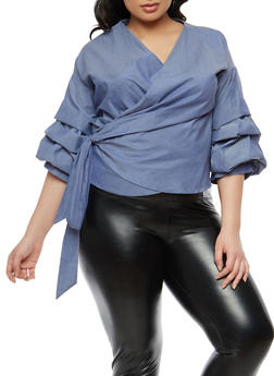 Plus Size Tiered Bubble Sleeve Wrap Top - 1803074280706