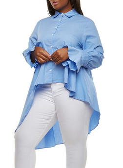 Plus Size Button Front High Low Top - 1803074281101