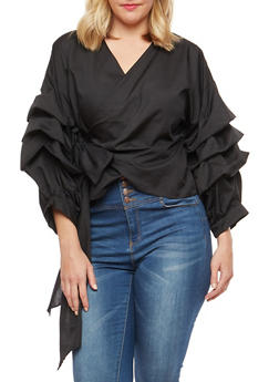 Plus Size Ruched Sleeve Wrap Front Top - 1803074281501