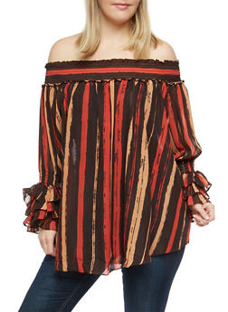 Plus Size Striped Off the Shoulder Top - 1803074281602