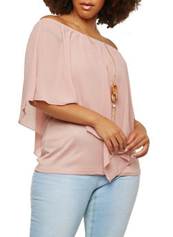 Plus Size Asymmetrical Overlay Top with Necklace - 1803074286281