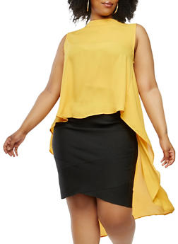 Plus Size Sheer High Low Top - 1803074289137