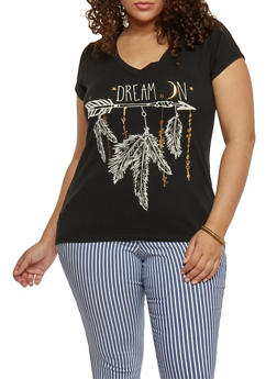 Plus Size Dream On Graphic V Neck T Shirt - 1806054260120