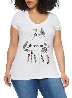 Plus Size Short Sleeve V Neck Dream On Graphic T Shirt - 1806054260122