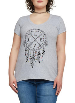 Plus Size Love Dreamcatcher Graphic V Neck Top - 1806054260123