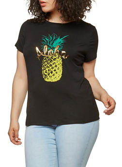 Plus Size Aloha Graphic T Shirt - 1806061350473