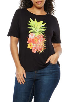 Plus Size Floral Pineapple Graphic T Shirt - 1806061350478