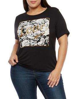 Plus Size Love Graphic T Shirt - 1806061350485