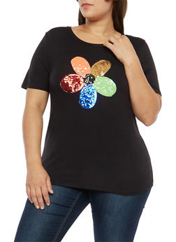 Plus Size Sequin Flower T Shirt - 1806061353368
