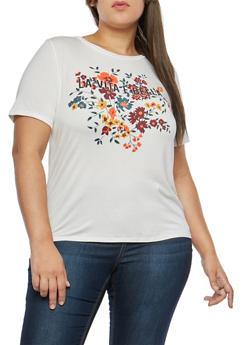 Plus Size La Vita E Bella Graphic T Shirt - 1806061353397