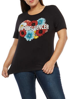 Plus Size New Influencer Graphic T Shirt - 1806061354100
