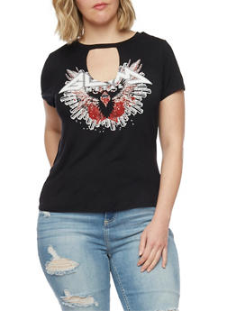 Plus Size Metal Graphic Choker T Shirt - 1806061359896