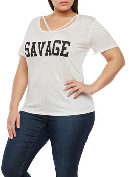 Plus Size Caged Neck Graphic T Shirt - WHITE - 1806074280501