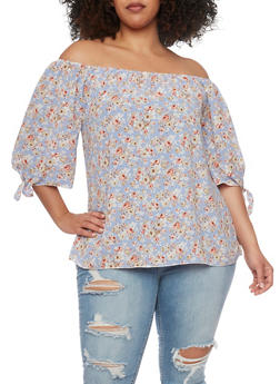 Plus Size Floral Off the Shoulder Top with Tie Sleeves - 1807020626605