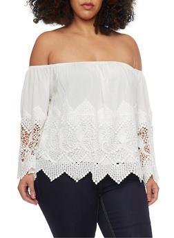 Plus Size Off The Shoulder Crochet Insert Peasant Top - 1807035044022