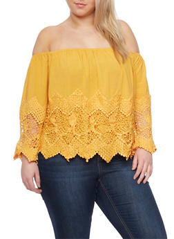 Plus Size Off The Shoulder Crochet Insert Peasant Top - MUSTARD - 1807035044022