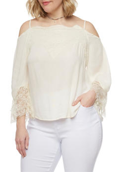 Plus Size Cold Shoulder Blouse with Lace Trimmed Bell Sleeves - 1807051066904