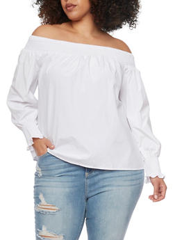 Plus Size Smocked Off the Shoulder Long Sleeve Top - 1807051066927