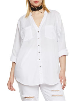 Plus Size Button Front High Low Shirt - WHITE - 1807051068812