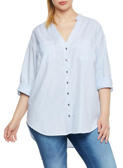 Plus Size Button Front High Low Shirt - 1807051068812