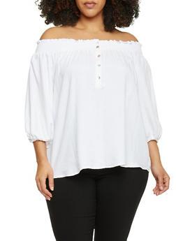 Plus Size Off the Shoulder Henley Button Front Top - 1807051068929