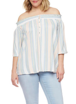 Plus Size Off the Shoulder Henley Button Front Top - 1807051068929