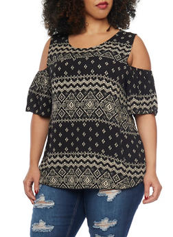 Plus Size Aztec Cold Shoulder Print Top - 1807054260746