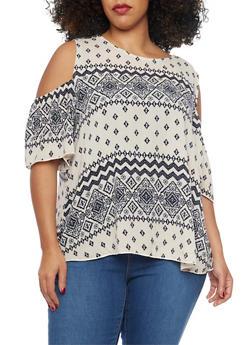 Plus Size Aztec Cold Shoulder Print Top - 1807054260746