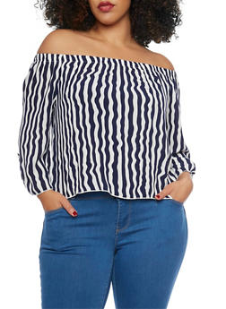 Plus Size Striped Off The Shoulder Top - 1807054264605