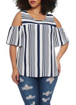 Plus Size Stripe Cold Shoulder Top - 1807054264607