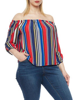 Plus Size Off the Shoulder Striped Tab Sleeve Top - 1807054266051