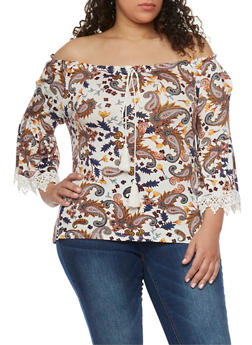 Plus Size Off the Shoulder Paisley Top with Crochet Trimmed Sleeves - 1807058756814