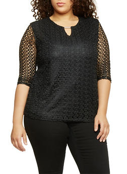 Plus Size 3/4 Sleeve Keyhole Lace Top - 1807073056032