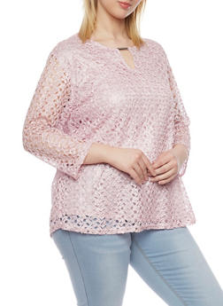 Plus Size 3/4 Sleeve Keyhole Lace Top - 1807073056032