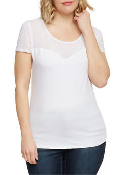 Plus Size Polka Dot Mesh Yoke Top - WHITE - 1809054266549