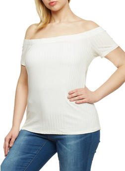 Plus Size Off the Shoulder Rib Knit Top - WHITE - 1809054269234
