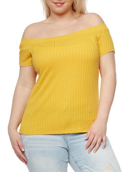 Plus Size Off the Shoulder Rib Knit Top - 1809054269234