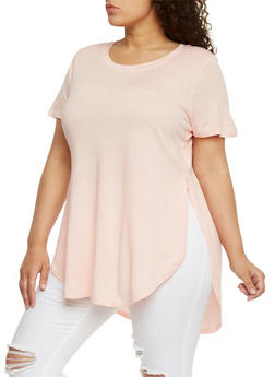 Plus Size High Low Tunic T Shirt with Open Sides - 1809054269411