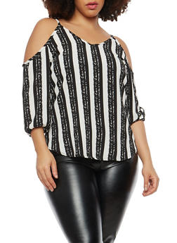 Plus Size Printed Cold Shoulder Top - 1810020624615