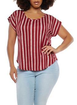 Plus Size Striped Soft Knit T Shirt - 1810020624809