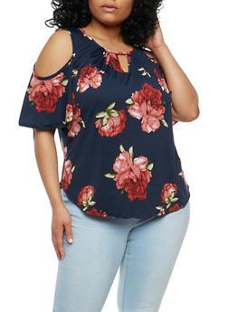 Plus Size Floral Cold Shoulder Top - 1810020625772