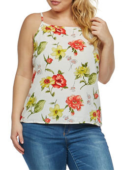Plus Size Floral Print Tank Top - 1810020626811