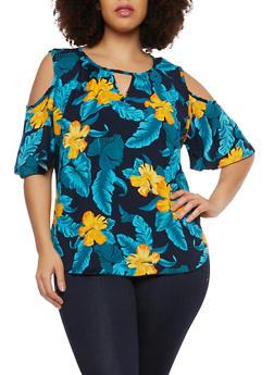 Plus Size Floral Cold Shoulder Top - 1810020627557