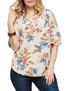 Plus Size Floral Cold Shoulder Top - 1810020627755
