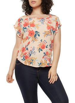 Plus Size Floral Crepe Knit Top - 1810020628040