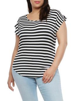 Plus Size Striped T Shirt - 1810020628091